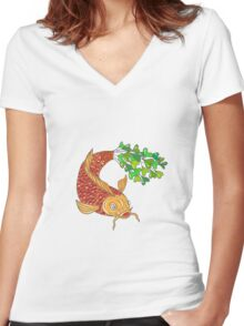 Koi Nishikigoi Carp Fish Microgreen Tail Drawing Women's Fitted V-Neck T-Shirt