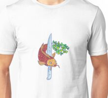 Koi Nishikigoi Carp Fish Microgreen Tail Knife Drawing Unisex T-Shirt