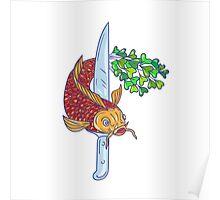 Koi Nishikigoi Carp Fish Microgreen Tail Knife Drawing Poster