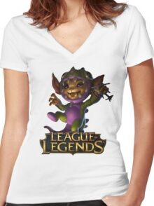 Dino Gnar - League of Legends Women's Fitted V-Neck T-Shirt