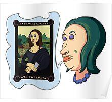 Woman dreaming herself as Mona Lisa Poster