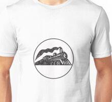 Steam Train Locomotive Coming Up Circle Woodcut Unisex T-Shirt