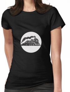 Steam Train Locomotive Coming Up Circle Woodcut Womens Fitted T-Shirt