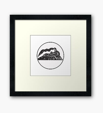 Steam Train Locomotive Coming Up Circle Woodcut Framed Print