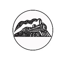 Steam Train Locomotive Coming Up Circle Woodcut Photographic Print