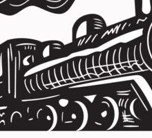 Steam Train Locomotive Coming Up Circle Woodcut Sticker