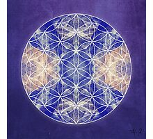 Flower of Life Blue Photographic Print