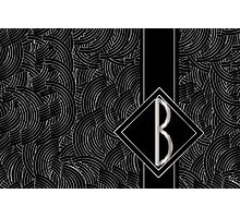 1920s Jazz Deco Swing Monogram black & silver letter B Photographic Print