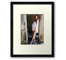 Beautiful blonde woman smiling on sunny summer  Framed Print