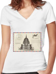 London Pos Women's Fitted V-Neck T-Shirt