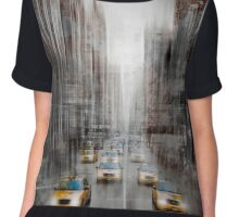 City-Art NYC 5th Avenue Yellow Cabs Chiffon Top
