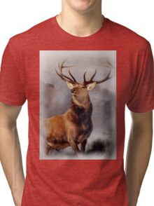 MONARCH OF THE GLEN, Digital Painting of this famous Stag Tri-blend T-Shirt