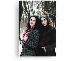 Lifestyle image of two young pretty friends girls Canvas Print