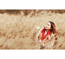 Asian woman in a wheat field Photographic Print