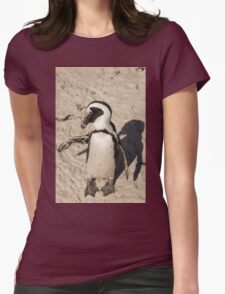 Penguin shadow boxing, South Africa Womens Fitted T-Shirt