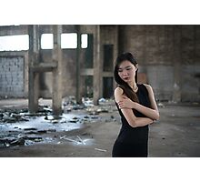 Asian woman wearing a long black dress Photographic Print