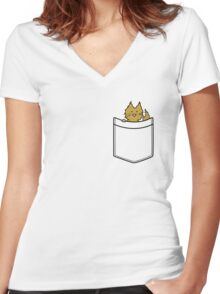 Ginger Cat in Your Pocket Women's Fitted V-Neck T-Shirt