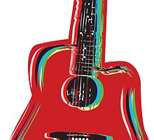 Guitar on Red by Winterrr