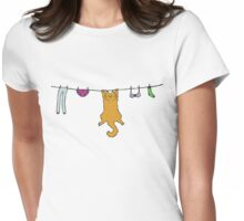 Wet Washing Cat Womens Fitted T-Shirt