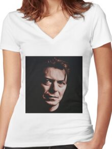 David Bowie - A Tribute Women's Fitted V-Neck T-Shirt