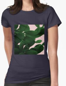 Cactus On Pink  Womens Fitted T-Shirt
