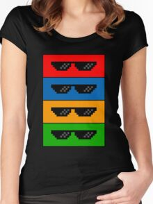 GlASSES! (MLG, THUG LIFE, NO SCOPE, DEAL WITH IT) Women's Fitted Scoop T-Shirt