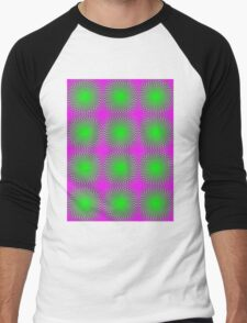 """""""PSYCHEDELIC 3D"""" Whimsical Abstract Print Men's Baseball ¾ T-Shirt"""
