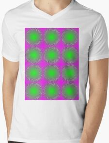"""""""PSYCHEDELIC 3D"""" Whimsical Abstract Print Mens V-Neck T-Shirt"""