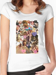 cat collage taylor swift Women's Fitted Scoop T-Shirt