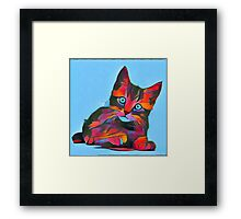 Cute Rainbow Kitten Framed Print