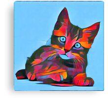 Cute Rainbow Kitten Canvas Print