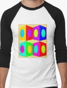 """PSYCHEDELIC BLOCKS"" 3D Whimsical Print Men's Baseball ¾ T-Shirt"