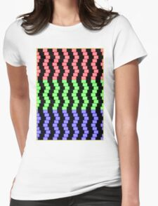 """""""ABSTRACT 3D BLOCKS"""" Psychedelic Print Womens Fitted T-Shirt"""