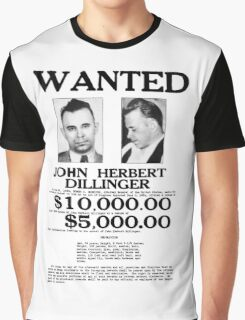 John Dillinger Wanted Poster Graphic T-Shirt