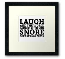 Laugh Snore Funny Oldboy Pun Random Humor Cool Framed Print