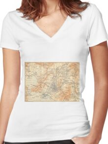 Vintage Map of Athens Greece (1908) Women's Fitted V-Neck T-Shirt