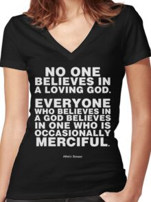 Occasionally Merciful God (drk) Women's Fitted V-Neck T-Shirt