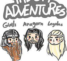 THE GAY ADVENTURES OF GIMLI ARAGORN LEGOLAS  by NEOEVA