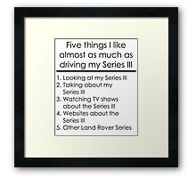 5 Things I Like - Series 3 Framed Print