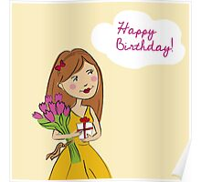 Happy Birthday Card with beautiful girl and flowers Poster