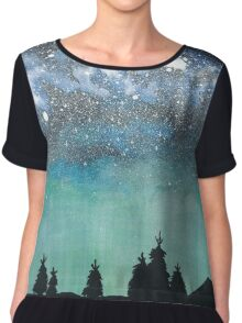 Night Sky I ~ Watercolor space painting Chiffon Top