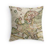 Vintage Map of Europe (1596) Throw Pillow
