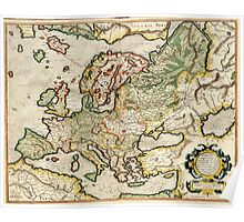Vintage Map of Europe (1596) Poster