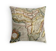 Vintage Map of Africa (1596) Throw Pillow