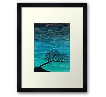 Cloudy I ~ Watercolor tree painting Framed Print
