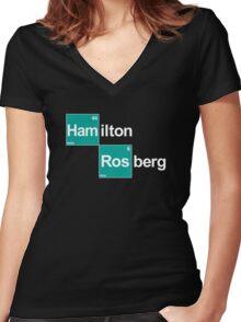 Team Hamilton Rosberg (black T's) Women's Fitted V-Neck T-Shirt