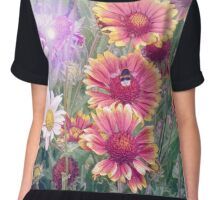 Multi Coloured Flowers with Bee Chiffon Top