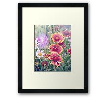 Multi Coloured Flowers with Bee Framed Print