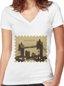 London Pos 2 Women's Fitted V-Neck T-Shirt