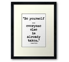 Oscar Wilde Be Yourself Framed Print